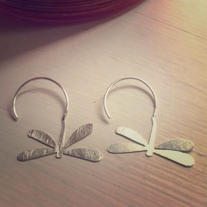 Dragonfly Silver hoop earrings from Bali